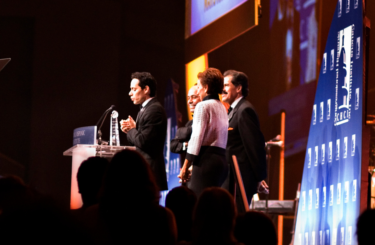 Marc Anthony receiving a Lifetime Achievement Award at the Hispanic Caucus Gala on September 16, 2009