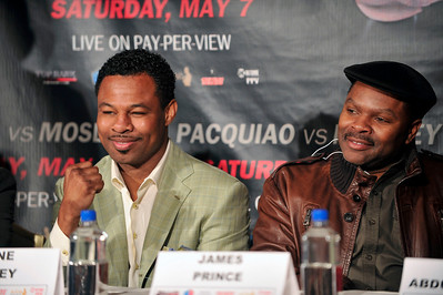 Manny Paquiao  Eighth Division World Champion and Shane Mosley Three-Division World Champion hold Press Conference at the Beverly Hills Hotel in Preparation for there upcoming 12 Rounds- World Welterweight Championship Fight at the MGM Grand Garden Arena in Las Vegas on May 7, 2011. Sugar Shane Mosley and Friend James Prince Valerie Goodloe