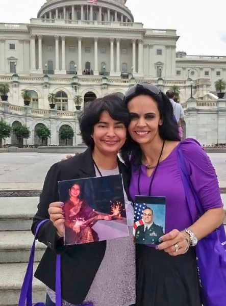 Outside Capitol Hill with Nancy. She had lost her brother to pancreatic cancer. He was younger than ma when he passed on.....