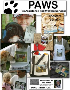 Samples of some of the photo merchandise available. Purchases will help fund PAWS activities.