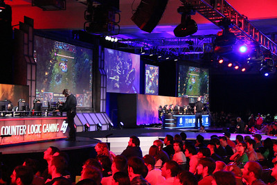 Hundreds of people watched the two teams compete on giant screens.