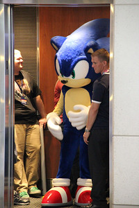 Sonic the Hedgehog doesn't take the stairs -- he prefers the elevator.