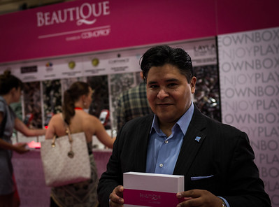 P&G's Reuben Carranza at Beautique area of Cosmoprof North America. Beautique benefited City of Hope.