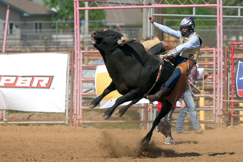 Matthew Gaston | The Sheridan Press<br>Black Water proved to be to sporadic for Weston Hartman at the PBR Forever West competition Saturday, May 30, 2020.