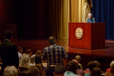 Renowned British journalist, broadcaster and author, Melanie Phillips takes questions after a lecture at Armstrong Auditorium on May 7, 2017.