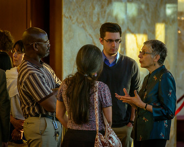 Renowned British journalist, broadcaster and author, Melanie Phillips mingles in the lobby of Armstrong Auditorium with attendees of her lecture on May 7, 2017.