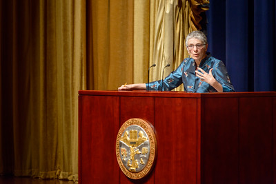 Renowned British journalist, broadcaster and author, Melanie Phillips addresses an audience of Trumpet readers, as well as members of the public from the Oklahoma City metro area in Armstrong Auditorium on May 7, 2017.