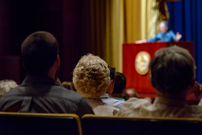 Audience members listen attentively as renouned British journalist, broadcaster and author Melanie Phillips delivers her address at Armstrong Auditorium on May 7, 2017.