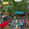 Children learning how to walk a tight rope in Dulcimer Grove. (Howard Pitkow/for Newsworks)