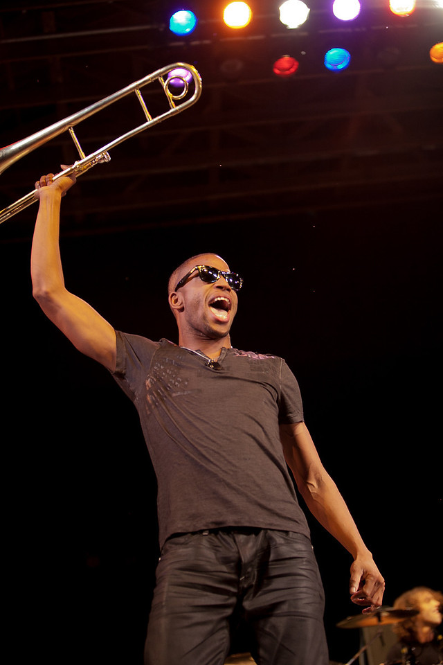 Trombone Shorty was another crowd pleaser at the Philadephia Folk Festival on Sunday night. (Howard Pitkow/for Newsworks)