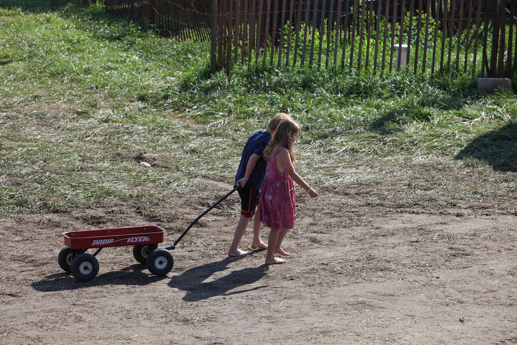 Little red wagon's are often used to carry ice and personal belongings to and from the campsites.