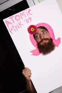 "Atomic Pink Photo booth theme - I created face holes with pink hair (hand painted by me)...when people have asked or said ""I've always wanted your hair""...and so I gave them 4 options to have pink hair. :)"