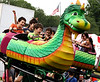 Children enjoy their ride on the dragon roller coaster at the June Fete Village Fair Saturday, June 6, 2015.<br /> Bob Raines--Montgomery Media