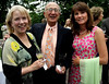 Melanie and Harry Martin, left, pose with Emily Daeschler at the Morris Arboretum Moonlight and Roses Gala June 5, 2015.<br /> Bob Raines--Montgomery Media