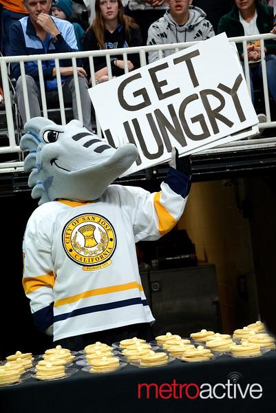San Jose Barracuda AHL mascot Frenzy works up the crowd