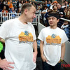 Joey Chestnut (L) and Matt Stonie post contest