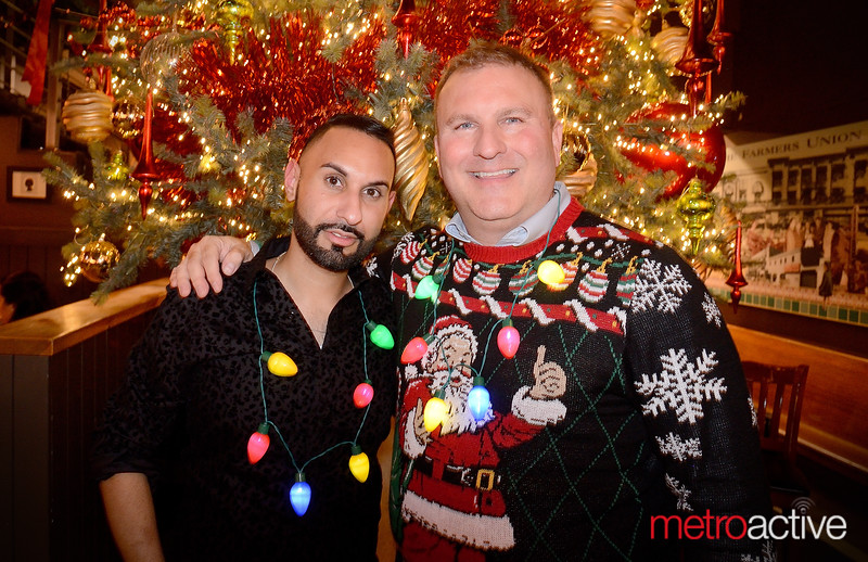 (L) Sunny Sandan and Mark Allen of San Jose celebrate the holidays at The Farmers Union