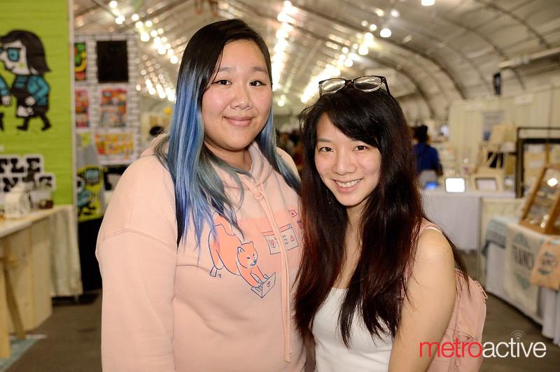 (L) Maggie Yue and Vivian Ho of San Jose at the 2019 San Jose Craft Holiday Fair