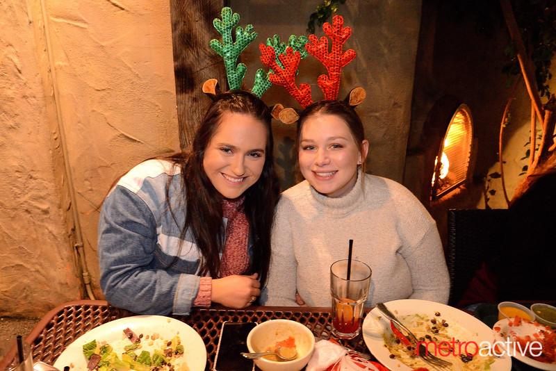 (L) Bella Cody and Jordan Pritchard both of San Jose enjoying a Holiday meal at Aqui's in Willow Glen