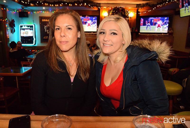 (L) Josefina Arreola and Paula Millan both of San Jose enjoying a night out at Goose Town - Willow Glen