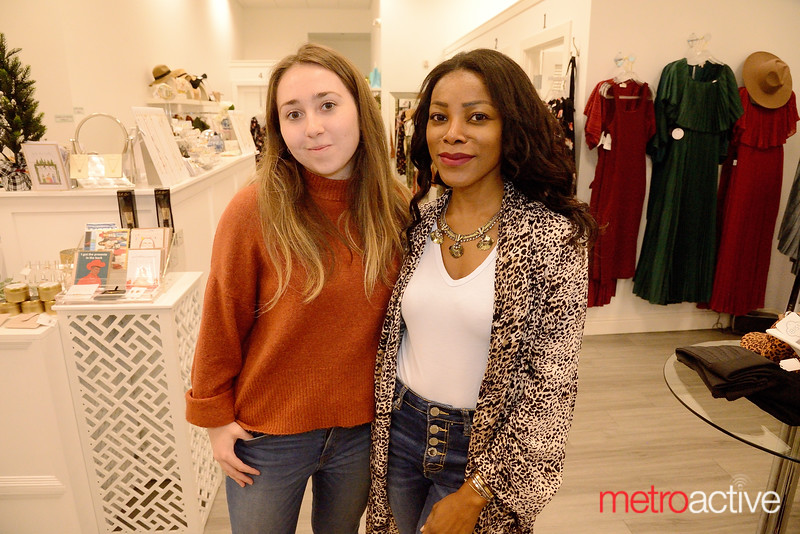 (L) Cynthia Beltran of San Jose and Ibi Oluwole of San Francisco hold down the fort in Ibiss Boutique - Willow Glen