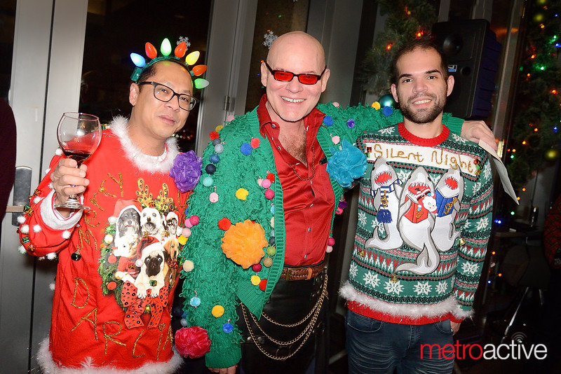 (LtoR) Angelo Padva, Lance Lashelle and Nick Itt - LGBTQ Counsil's Ugly Holiday Sweater Party at the Capital Club