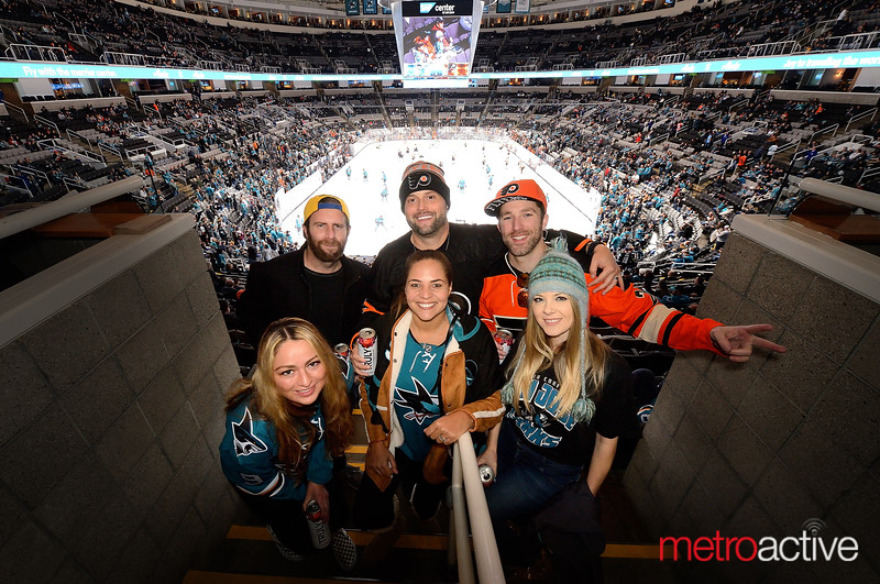 Flyers vs. Sharks didn't stop this crew from posing for a picture in the Shark Tank