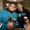 (L) Raymond Fuerte and Anthony Woodward both of San Jose in the Shark Tank for Flyers vs. Sharks