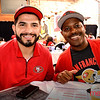 Patrick Alvarez (L) of San Jose and CJ Thomas of San Jose at Rookies Sports Bar and Grill in Downtown San Jose