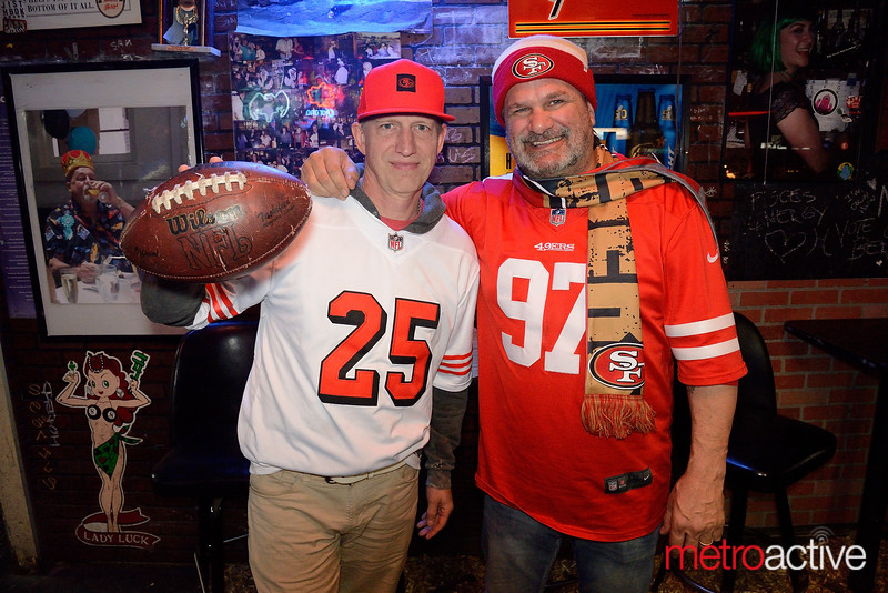 Patrick Barry (L) and Dave Pasim of Palo Alto at Antonio's Nut House in Palo Alto