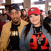 Sal Ahmad of Oakland and Julissa Perez of San Francisco at 4th Street Pizza for the Super Bowl