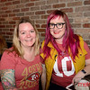 Rene Schilling (L) and her sister Laura of San Jose at 4th Street Pizza for the Super Bowl