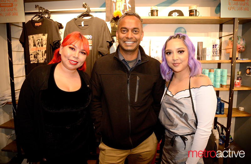(LtoR) Marina Solis, Ram Geepee and Rachel Rodriguez taking a break from styling at Bishops Cuts/Color downtown San Jose