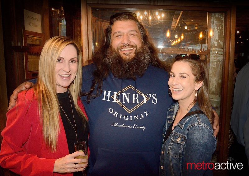 (LtoR) Laurie Holcomb, Rocco Loebl, and Abi Rivas celebrate during Airfield Supply Company's 10 year anniversary party at 71 Saint Peter