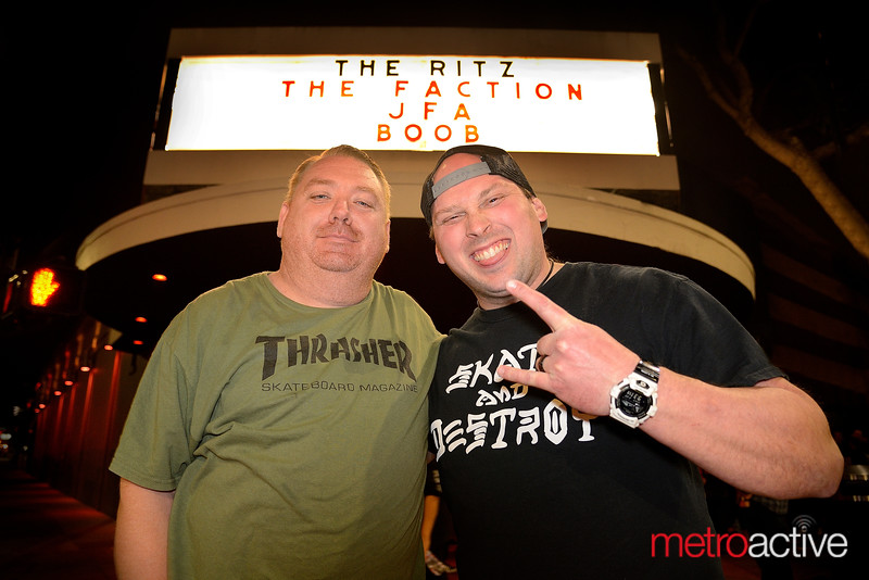 Tuk Oakley (L) and Colby Reacher at The Ritz for the last and final performance from San Jose skate punk legends The Faction