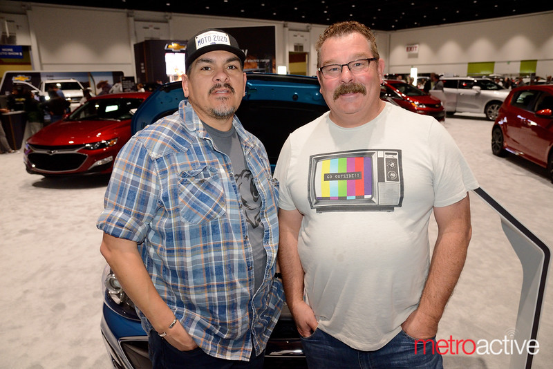 Silicon Valley Auto Show - Randy Monger (L) and Mikey Manta of San Jose