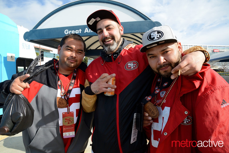 NFC Championship - Levi Stadium - Andy Lozano (L) Lonnie Barrea and David Lozano