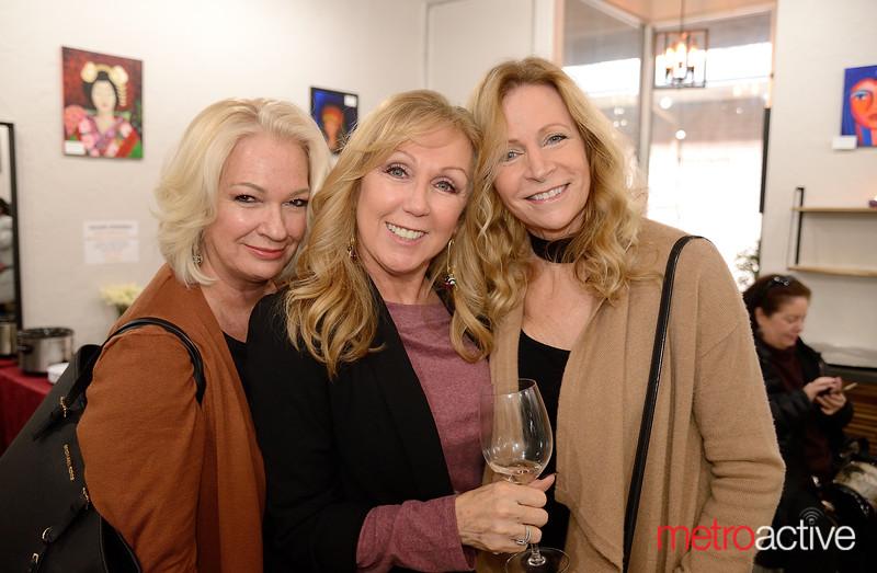 (LtoR) Cindy Santiago, Cheryl Morris and Karen Swanson at Nirvana Aveda Salon for the Art Party!