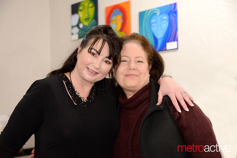Joy Ramsauer (L) and Margo Alaimo at Nirvana Aveda Concept Salon for the Grand Opening and Art Party!