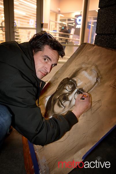 Daniel McClenon a street artist from San Jose shows off his talent on E San Fernando Street
