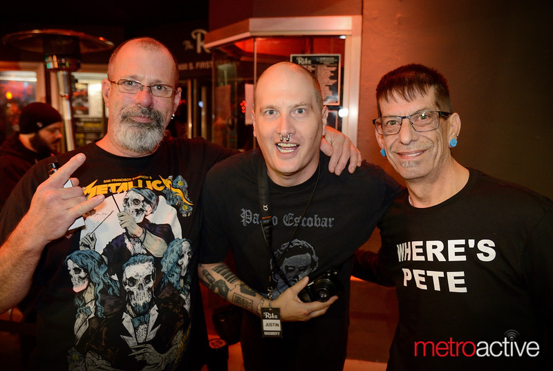 "(LtoR) Curly Merkin - Justin Brown - Gary Crawford all of San Jose at the Ritz for ""The HU"" concert"