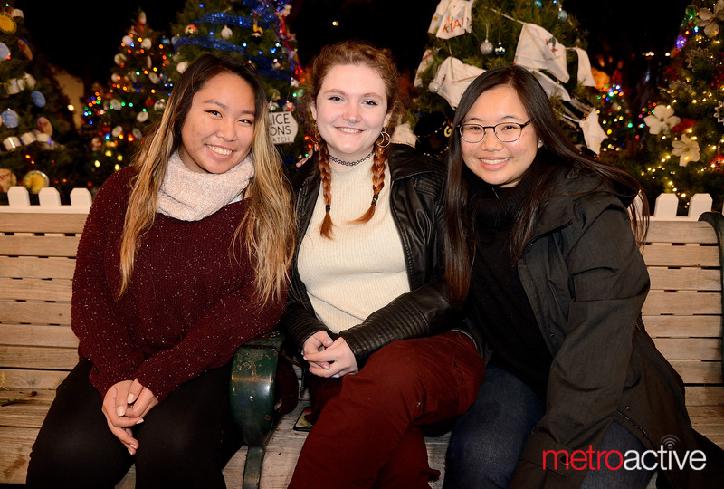 (LtoR) Susannah Chun - Julia Vrolyks - Lois Mac all of San Jose at Christmas in the Park