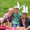 Olivia Inden, Mason Root and Maddie Bianchini buddy up at The Petaluma Mother's Club  Easter Egg Hunt at McNear Park on April 12, 2014