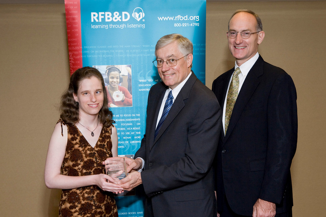 (l to r) Jessie Kirchner, SAA winner, Richard Cox, Chair, RFB&D National Board of Directors, John Kelly, RFB&D President and CEO.