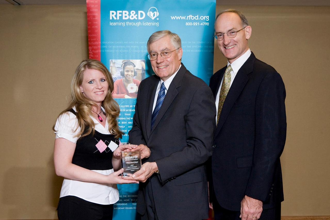(l to r) Tiffany West-Bergt SAA winner, Richard Cox, Chair, RFB&D National Board of Directors, John Kelly, RFB&D President and CEO.