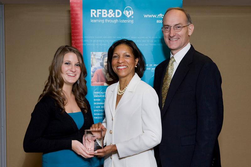 (l to r) Abby Nash, LTL Winner, Deborah BRittain, Secretary, RFB&D National Board of Directors, John Kelly, RFB&D President and CEO.