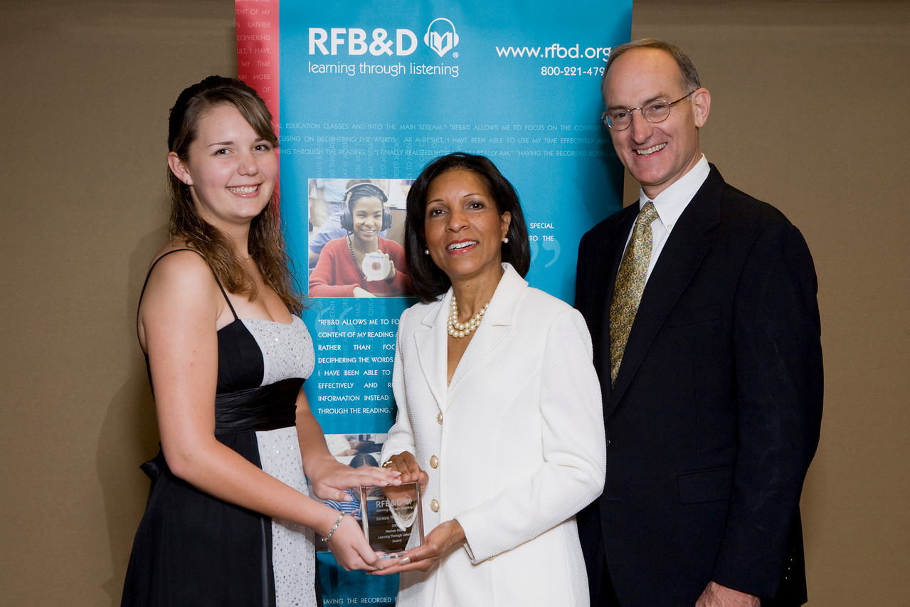 (l to r) Kirsten Amling, LTL Winner, Deborah Brittain, Secretary, RFB&D National Board of Directors, John Kelly, RFB&D President and CEO.