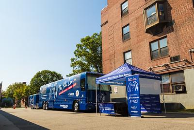2017_09_25, Bus, Establishing, Exterior, Flushing, NY, PS200, Tents