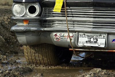 Counterfeit Bluesmobile in the mud
