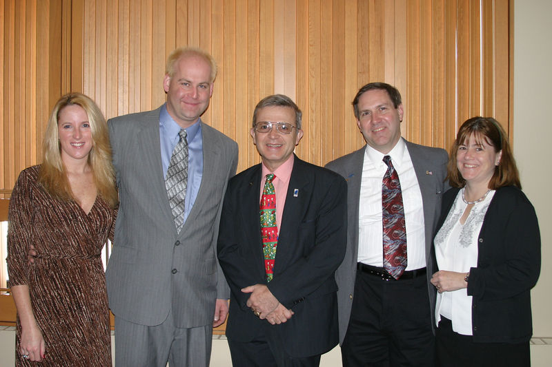Frank with Frankie (20 years) and Paul (30 years) and spouces, Anniversary Awardee Luncheon, Campus Center, Pleasantville, December 3rd, 2005.